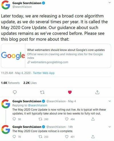 Google 搜索 2020 五月核心算法更新,以及如何应对的配图